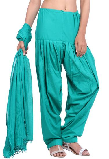 Full Cotton Aqua Green Patiala Salwar