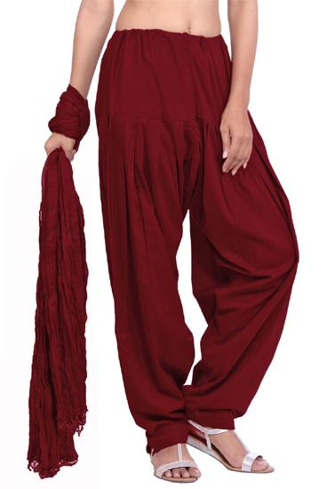 Full Cotton Maroon Patiala Salwar