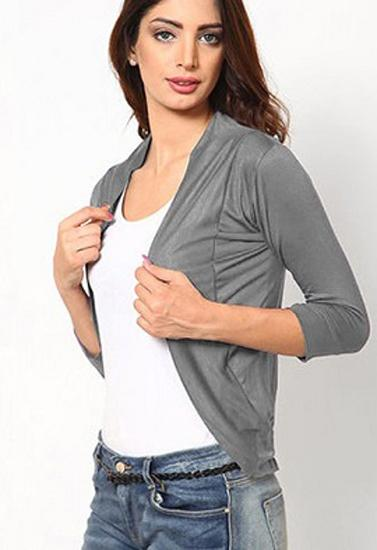 Grey 3 Quarter Sleeves Solid Shrug
