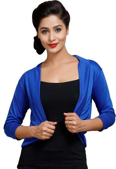Super Fine Royal Blue 3/4 Sleeves Shrug