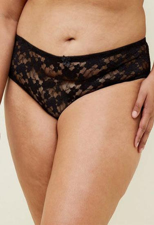 """VICTORIA's SECRET"" Rich Black Lace Cheeky Brief"