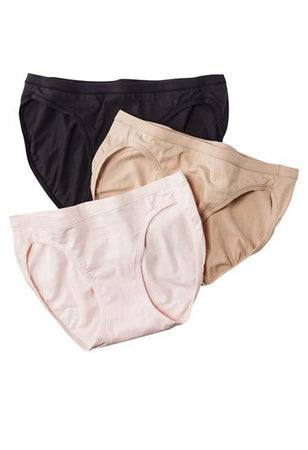 """Westren Beauty"" Plus Size Elastic Waist Panties 3-Pack+ 1 Free Bra"