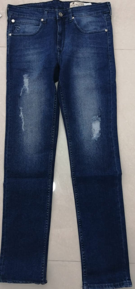 French Connection Men Blue Slim Fit Mid-Rise Torn Look Stretchable Jeans