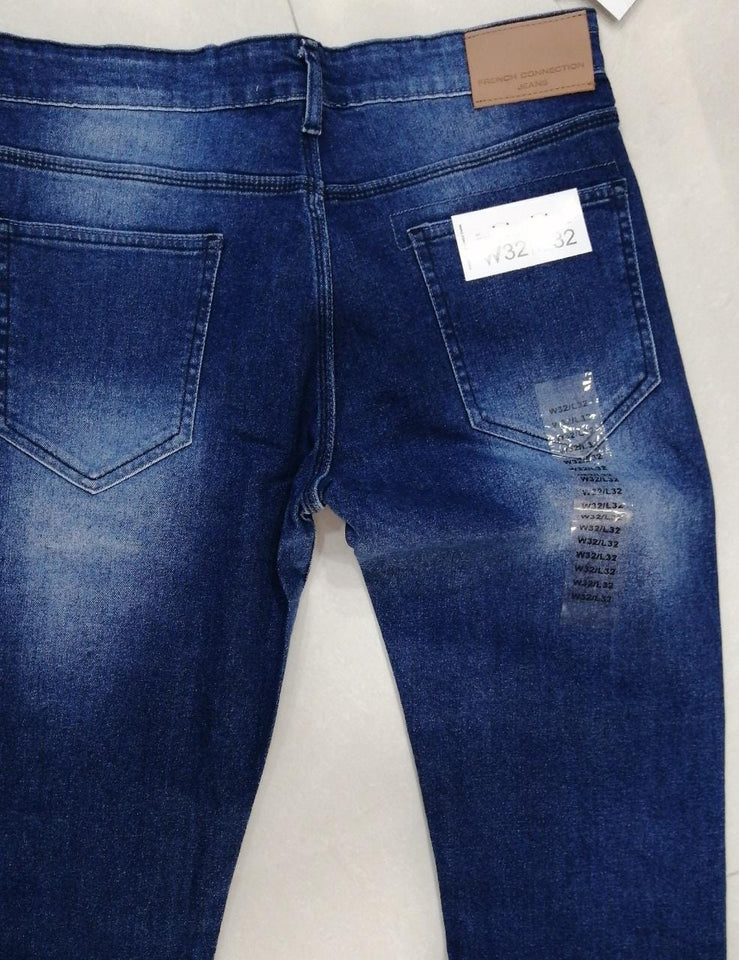French Connection Men Mid Blue Skinny Fit Mid-Rise Clean Look Stretchable Jeans