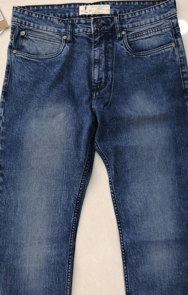 French Connection Men Light Blue Slim Straight Fit Mid-Rise Heavy Faded Look Stretchable Jeans