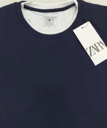 Zara Men Mock Layer Collar Popcorn Textured Navy Blue T-Shirt.