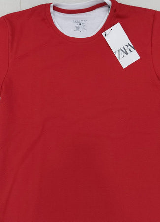 Zara Men Mock Layer Collar Popcorn Textured Red T-Shirt.