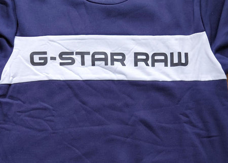G-STAR Raw Blue Straight Fit Graphic Printed Sweatshirt