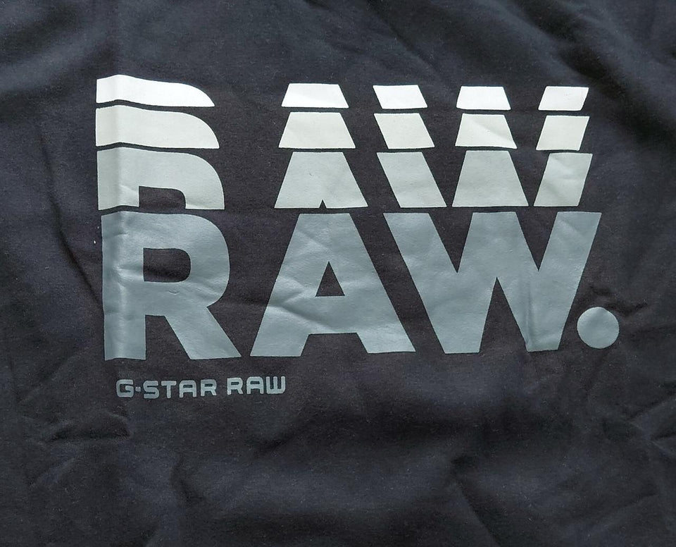 G-Star RAW Round Neck Black Graphic Print Sweatshirt.
