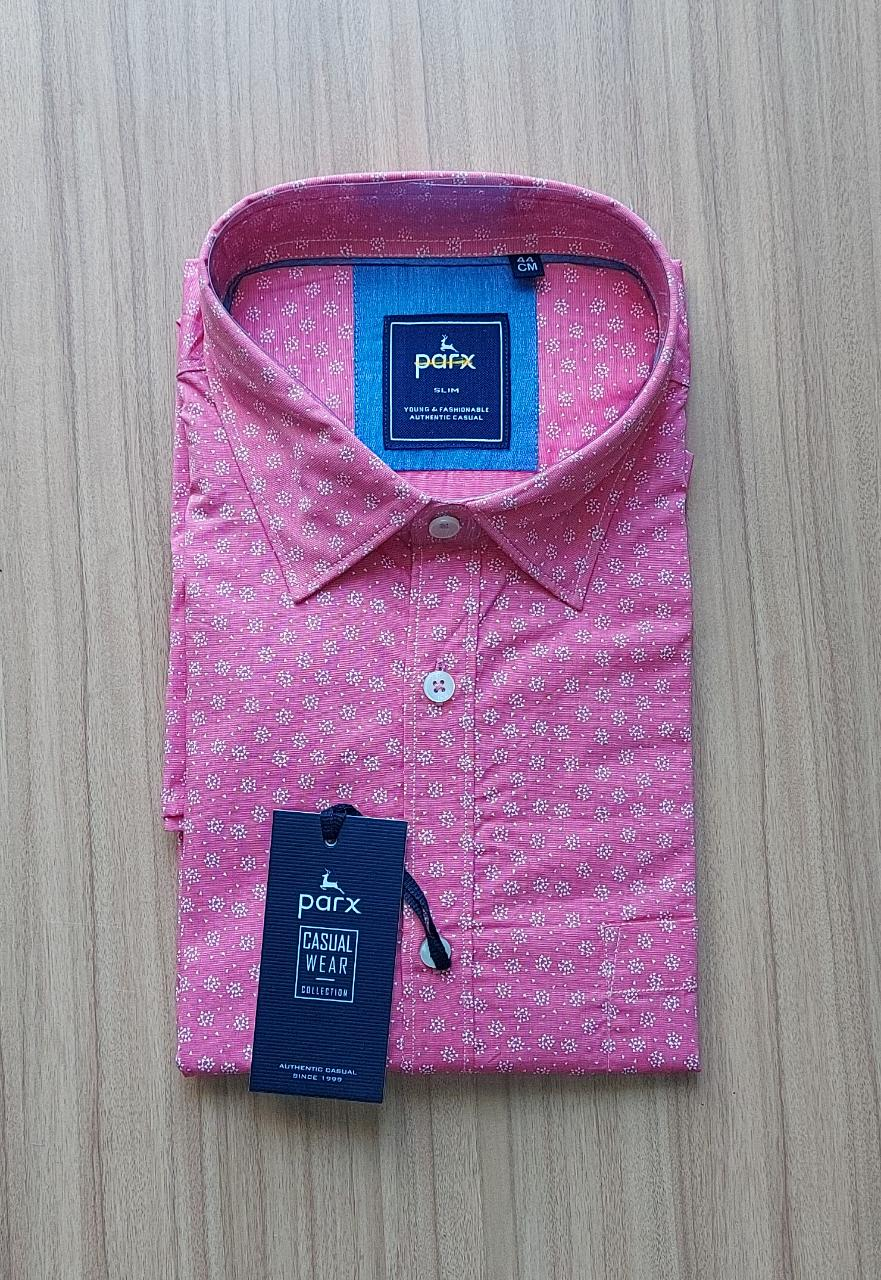 Parx Men Pink Slim Fit Printed Solid Casual Shirt.