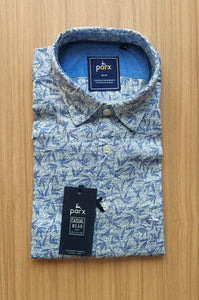 Parx Men Mid Blue Slim Fit Printed Casual Shirt