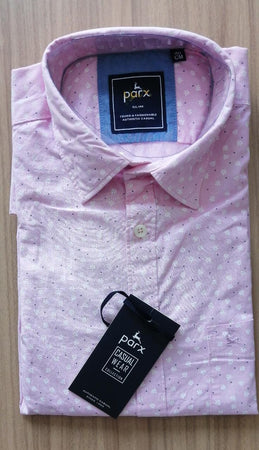 Parx Men Light Pink Slim Fit Printed Solid Casual Shirt.