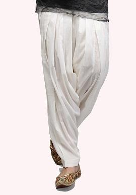 White Full Cotton Patiala Salwar
