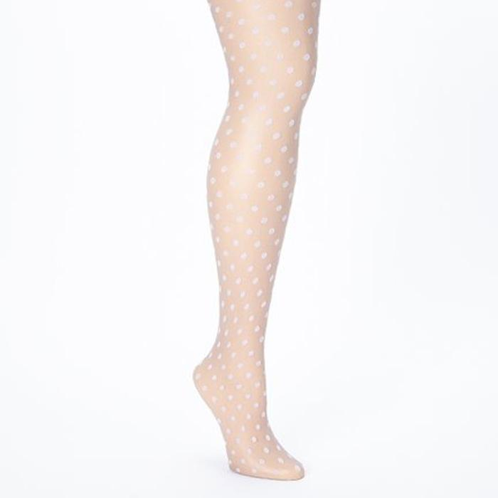 White dotted ultra glossy shine women pantyhose