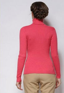 Women's Slim Fit Soft High Neck Watermelon Red Sweater
