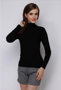 Women's Hot Black Turtle Neck Sweater