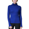 Women's Stripe Ribbed Stretch Cashmere Turtleneck Sweater
