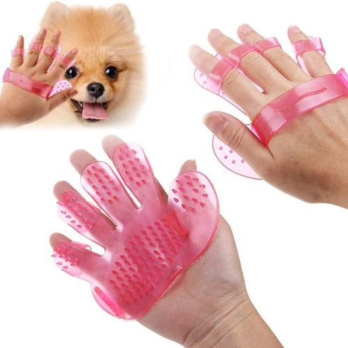 TopMart 2 Pairs of Rubber Pet Cleaning Massaging Grooming Glove Brush