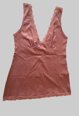 D&G Pink Deep V-Neck Lace Trim Camisole