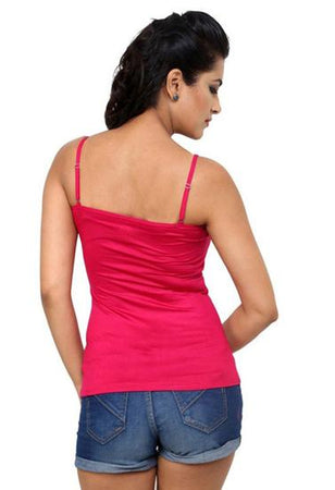Solid Pink Cotton Detachable Straps Versatile Camisole