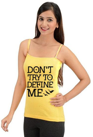 Yellow Quote Printed CottonξSoft Square Neck Camisole