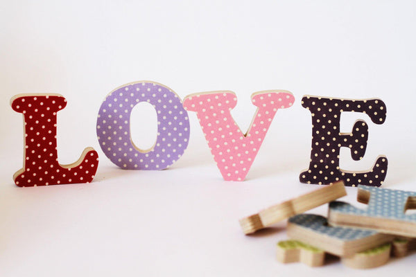 Polka Dot Fabric Covered Letters made by Beamers