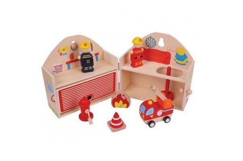 Wooden Playset Fire Station made by Bigjigs
