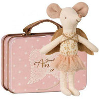 Maileg Guardian Angel Mouse In Metal Suitcase made by Loula and Deer