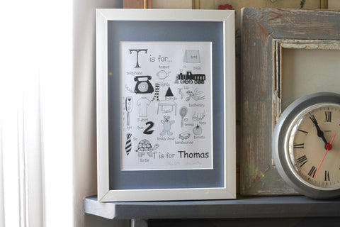Personalised Baby Name Print made by Charlotte Axworthy