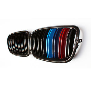 3 Colors Carbon fiber dual line gloss matt  replace front Grills 1 pair For BMW X5 E70 X6 E71 2007-2013