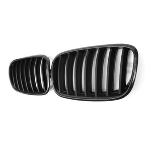 Carbon fiber single line gloss matt  replace front Grills 1 pair For BMW X5 E70 X6 E71 2007-2013