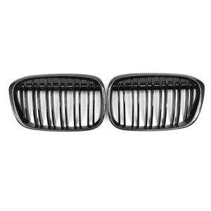 Carbon fiber dual line gloss matt  replace front Grills 1 pair For BMW X1 F48 F49 2016UP