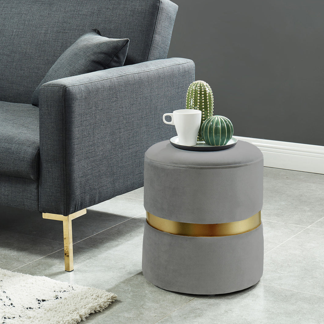 Violet Ottoman Grey/Gold