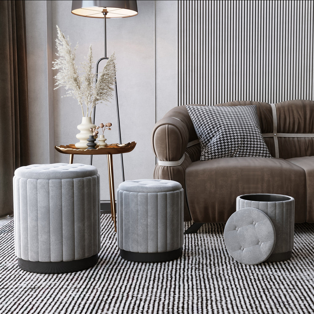 Tobi 3pc Storage Ottoman Set - Grey & Black