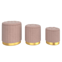Load image into Gallery viewer, Tobi 3pc Storage Ottoman Set - Pink & Gold