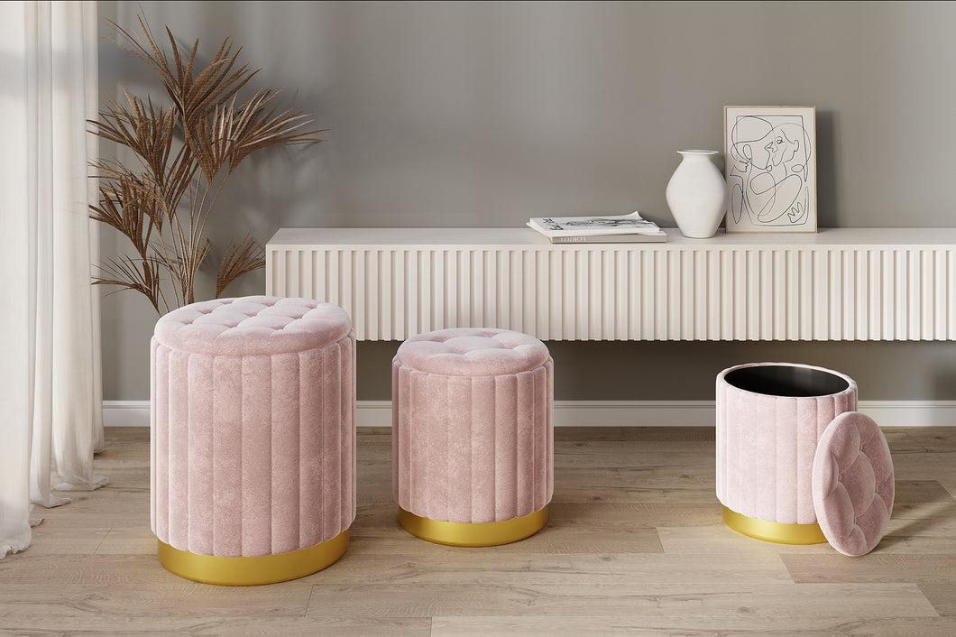 Tobi 3pc Storage Ottoman Set - Pink & Gold