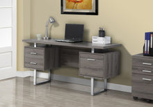 "Load image into Gallery viewer, COMPUTER DESK - 60""L / DARK TAUPE / SILVER METAL"