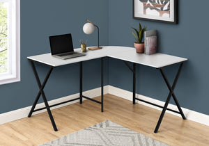 "COMPUTER DESK - 55""L / WHITE TOP / BLACK METAL CORNER"