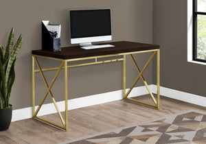 "COMPUTER DESK - 48""L / ESPRESSO / GOLD METAL"