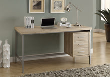 "Load image into Gallery viewer, COMPUTER DESK - 60""L / NATURAL WITH SILVER METAL"
