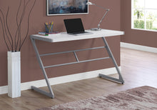 "Load image into Gallery viewer, COMPUTER DESK - 48""L / WHITE / SILVER METAL"