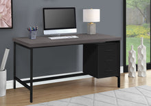 "Load image into Gallery viewer, COMPUTER DESK - 60""L / BLACK / GREY TOP / BLACK METAL"