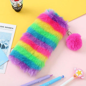 Rainbow furry pencil case - Safelyfe  Face mask chain pakistan ppe 3m dany fashion meltblown daraz davago south city aku kids stationery blanket