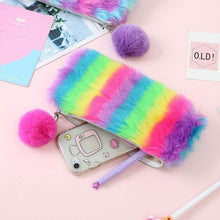 Load image into Gallery viewer, Rainbow furry pencil case - Safelyfe  Face mask chain pakistan ppe 3m dany fashion meltblown daraz davago south city aku kids stationery blanket