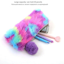 Load image into Gallery viewer, Rainbow furry pencil case