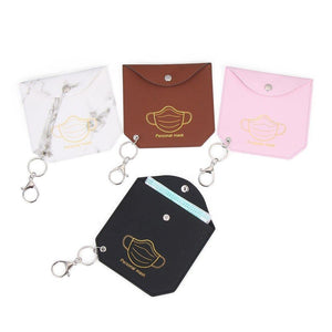 Mask Storage PU Pouch with Keychain