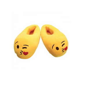 Fun Warm Cute EMOJI Winter Winking Unisex Slippers Large Size 5 to 7