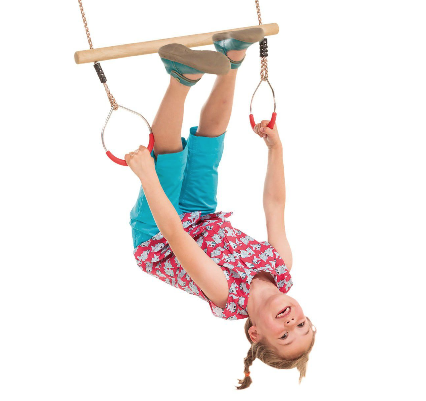 Kbt Kids Wooden Trapeze With Metal Rings For Acrobatic And Gymnastic Fun