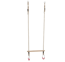 Load image into Gallery viewer, Kbt Kids Wooden Trapeze With Metal Rings For Acrobatic And Gymnastic Fun