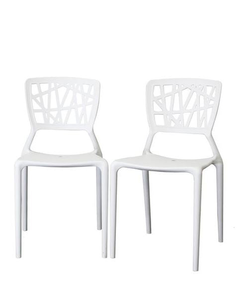 2 x Vento-Inspired Office Dining Multifunctional Chairs - White